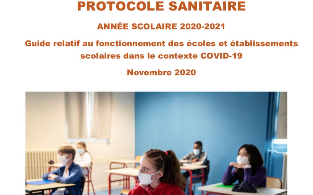 COVID-19 : Protocole sanitaire pour les établissements scolaires